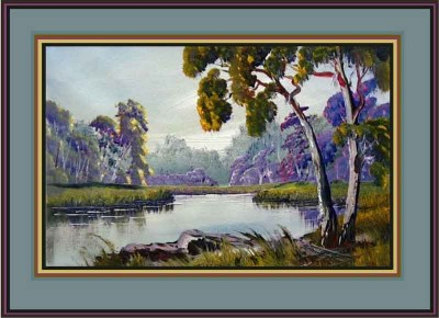 paint gum trees and river