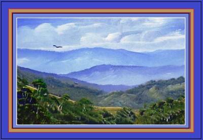 painting of mountain scene